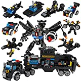 Lucky Doug 701 PCS Building Bricks Set, 26 in 1 Police Car Building Toys Can Build Transformers Heavy-Duty Cars, Classic Creative Building Blocks Set Compatible with All Major Brands for Kids Ages 6+