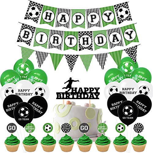 47 Pieces Football Party Accessories Football, Football Theme Balloons, with DIY Cake Topper, Happy Birthday Banner, for Children's Birthday Decoration, Football Fan Theme Party