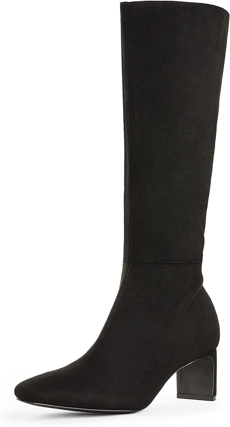 DREAM PAIRS Women's Knee High Suede Chunky Heel Side Zipper Fashion Boots