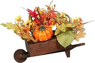 Firlar Simulation Pumpkin Bouquet in Wooden Cart, Artificial Sunflowers Maple Leaf Berries Fall Harvest Tabletop Decor for Halloween Thanksgiving Home Party Centerpiece