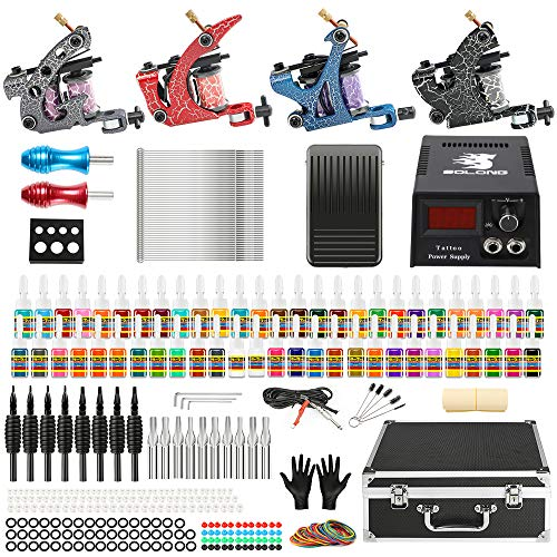 Solong Complete Tattoo Kit 4 Pro Machine Guns 54 Inks Power Supply Foot Pedal Needles Grips Tips Carry Case TK456