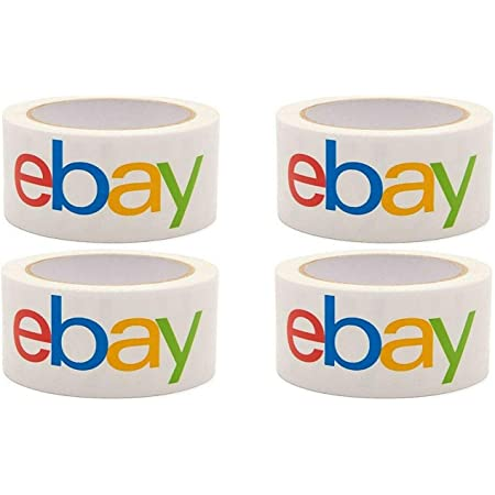 """75x2/"""" Rolls eBay Branded BOPP 2-mil Clear Packaging Shipping Tape Pack of 6"""