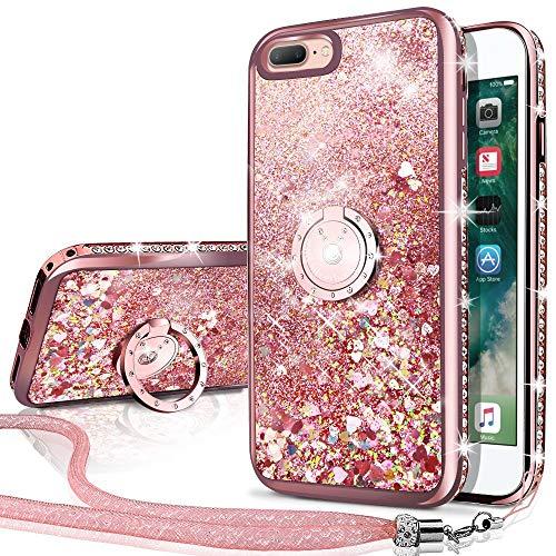 Miss Arts Funda iPhone 7 Plus,iPhone 8 Plus [Silverback] Carcasa Purpurina con...