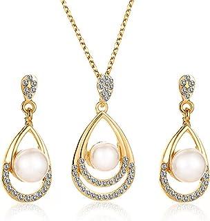 ست جواهرات زیبا Cngstar برای زنان مروارید اشک اشک زیرکونیا گوشواره گردنبند گردنبند طلا و جواهر برای ساقدوش عروس (طلا)
