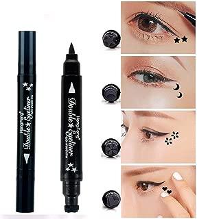 Pinkiou 2 in 1 Double-headed Liquid Eyeliner Pen Stamp Super Slim Gel Felt Tip High Pigment Black Waterproof Smudgeproof Long Lasting Tattoo Makeup Tool(Star)