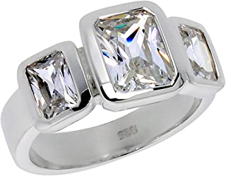 Sterling Silver Cubic Zirconia 3-Stone Ring Emerald Cut 1.2 ct Center Bezel Set, Sizes 6-10