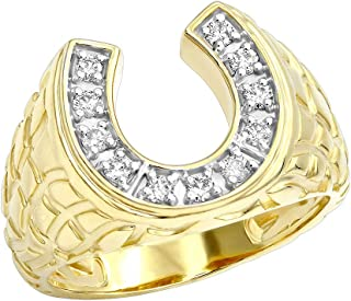 mens gold diamond horseshoe ring
