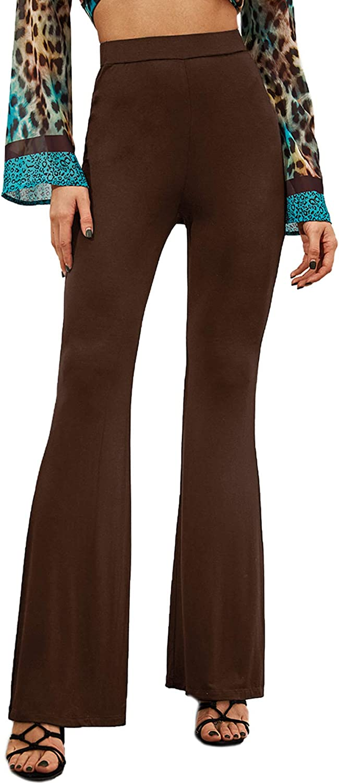 SweatyRocks Women's Casual High Waist Ruffle Hem Bell Bottom Wide Leg Flare Pants Trousers