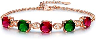 Uloveido Red and Green Created Tourmaline Stone Birthstone Rose Gold Plated Bracelet for Women October Birthday Gift BR007
