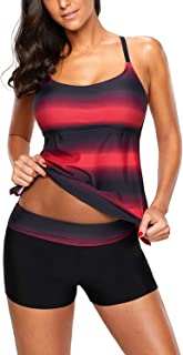Women's Color Block Criss Cross Back Tankini Top with Boyshorts Swimsuits