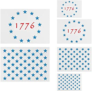 American Flag Star Stencil Templates - 6 Pack 50 Stars 1776 13 Stars Flag Stencils for Painting on Wood and Walls, Reusable Plastic Stencils in 3 Sizes for Wood Burning & Wall Art