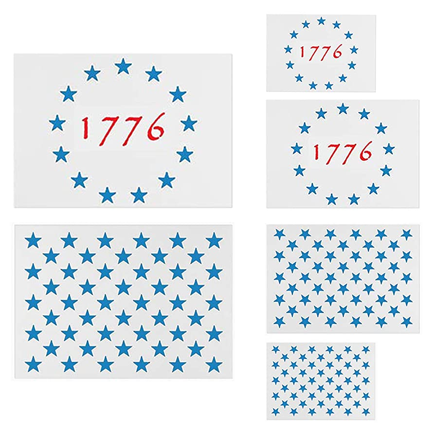 壊れた準備する神聖アメリカ国旗スターステンシルテンプレート - 6パック 50星 1776 13星旗ステンシル 木や壁に塗装 再利用可能なプラスチックステンシル 3サイズ 木材焼き ウォールアート