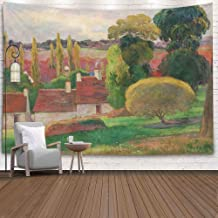 Gesmatic Decorative Wall Hanging Tapestry, 80X60 Inches Big Size Farm Paul French Painting Oil Canvas This Work was Painted Between Accessory for Living Room Bedroom Popular Tapestry,Orange Green