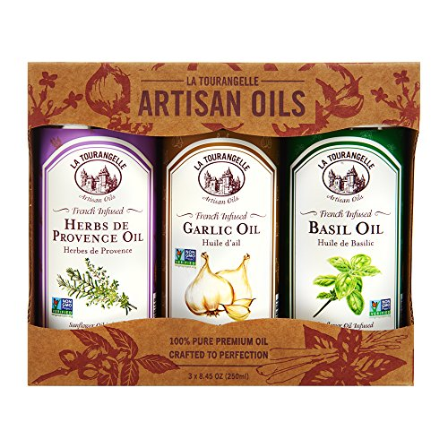 La Tourangelle Infused Trio of Oils - Infused Herbs de Provence Oil, Infused Garlic Oil, Infused Basil Oil Gift Set - 3 x 8.45 Fl. Oz.
