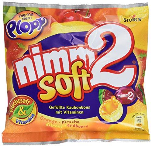 nimm2 soft – Kleine Bonbons mit flüssiger Fruchtsaftfüllung und Vitaminen zum Naschen für Kinder und Erwachsene – (15 x 116g Beutel)