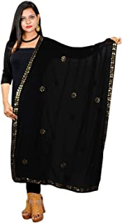 Women Dupatta Stole Semi Chiffon Chunni Gota Patti Work Party Wear Hijab Scarf Neck Wrap