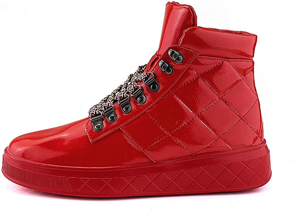 Mens Trainers Boys Fashion Hi-Top Basketball Shoes Casual Sneakers Sports Athletic Tennis Walking Running Shoes Goosun Flashing Trainers Lace Up Couples Shoes Red