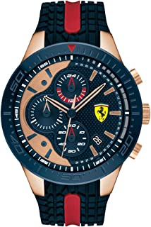 Ferrari Men's RedRev Stainless Steel Quartz Watch with Silicone Strap, Blue and Red, 18 (Model: 0830591)