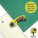 OfficeTree Set de Estera para Corte - 90x60 cm (A1) Verde + Cortador rotatorio + Regla 60 x 16 cm Trabajos de Corte Profesionales -