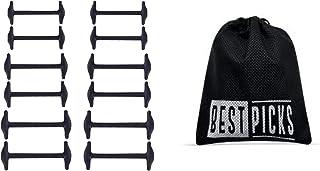 BESTPICKS 12Pcs/Set 3 Sizes Unisex Leather Shoes No Tie Elastic Silicone Shoelaces Shoe Lace Shoelace Black Color