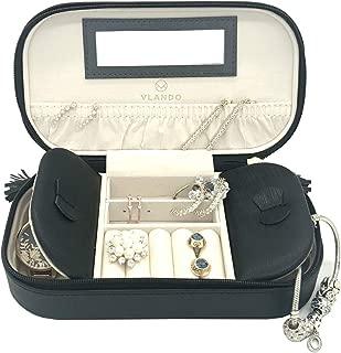 Vlando Small Travel Jewelry Box Organizer - Woman Girls Take-Out Handbags - Faux Leather Tassel Design (Black)