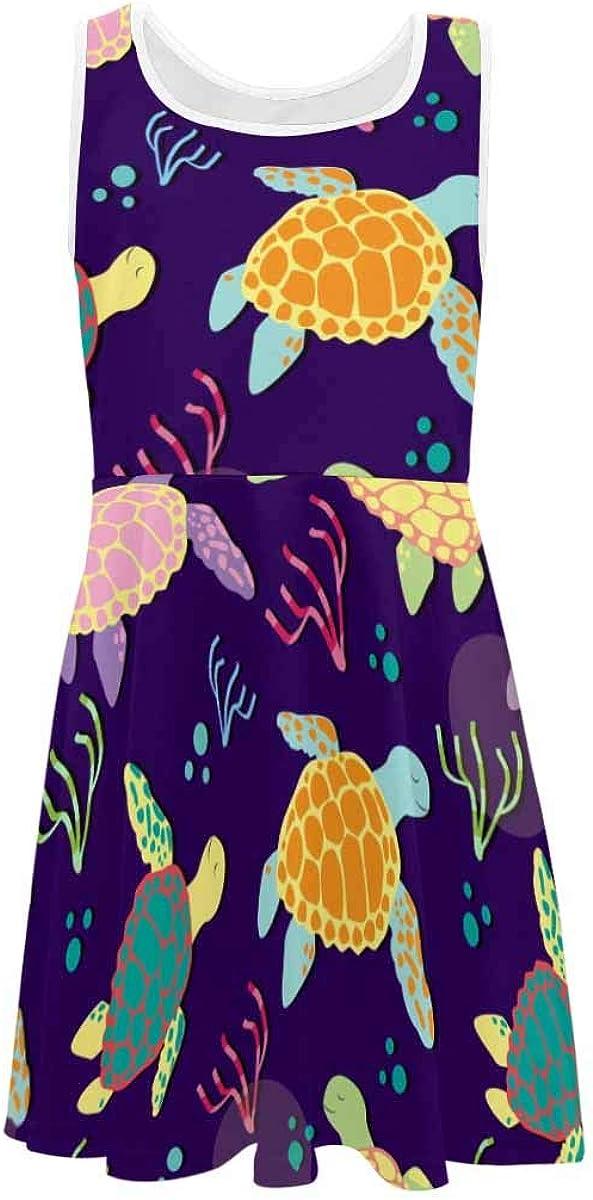 InterestPrint Girls Sleeveless Dresss Crew Neck Casual Sundress Sea Turtle Tribal (2T-XL)