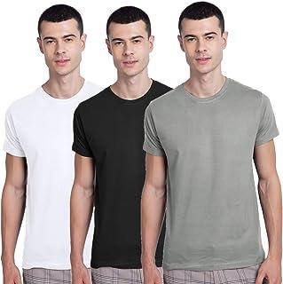 Bewakoof Men's Cotton Solid Men- Pack Of 3 (White 01, Grey 11, Black 01) Half Sleeves | Round Neck | Regular Fit T-Shirt/ ...