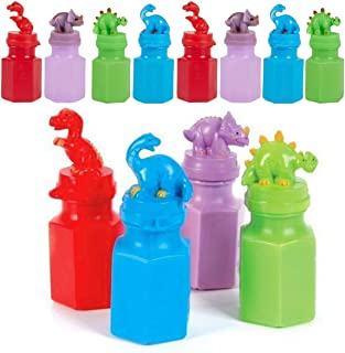 Kicko Dinosaur Bubble Bottles - 12 Pack - for Boys, Girls, Parties, and Birthdays