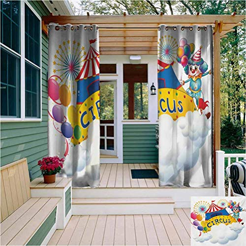 Circus Thermal Insulated Outdoor Curtain Illustration of a Circus Above The Clouds Fireworks Entertainer Comedian Show Print Protective Furniture W108 x L96 Inch Multicolor