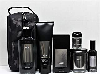 Men's Deluxe NOIR Gift Set, Cologne, 2-in-1 Hair and Body Wash, Body Cream, Single Wick Candle, Room Spray, Pocketbac w/Camo Travel Toiletry Bag