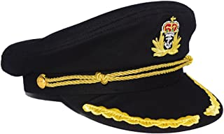 Chiclinco Admiral Captain Yacht Hat with Adjustable Snapback & Gold Embroidery Anchor Skippers Cap for Club Pub Party Costume Accessory (Black 1)
