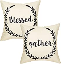 LIYACHAO Farmhouse Decor Blessed and Gather Cotton Linen Pillow Covers Set of 2 Home Decorative Throw Pillow Case Cushion Covers 18x18