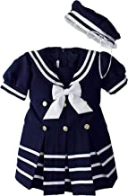 iGirlDress Baby Toddler Girls Nautical Sailor Dress with Hat Infant-4T