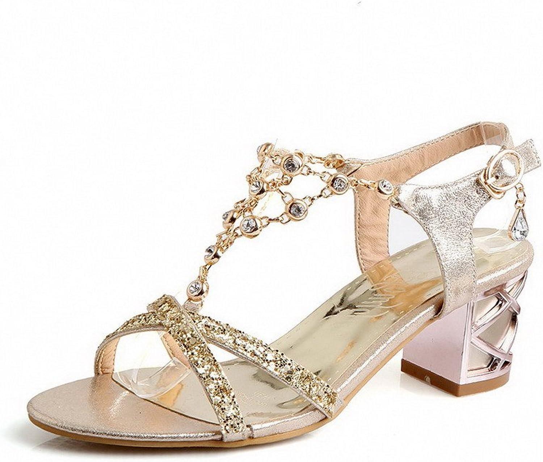 AllhqFashion Women's Solid Pu Open Toe Kitten Heels Buckle Sandals
