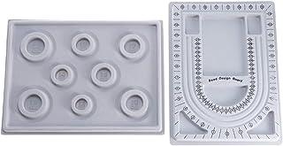 Healifty 2pcs Bead Design Board Flocked Bead Board Beading Jewelry Organizer Tray for DIY Craft Necklace Tool