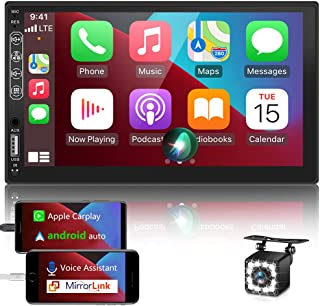 $159 » Double Din Car Stereo Carplay Android Auto 7'' Car Radio Receiver MP5 Player with Bluetooth and Backup Camera,FM/AM, Mirro...