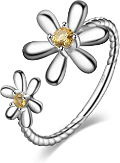 Daisy Flower Rope Shank 0.1ct Created Orange Sapphire Adjustable Open Ring Earring Necklace 925 Sterling Silver