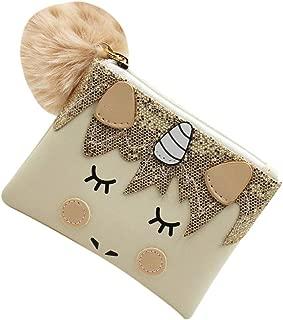 Cartoon Unicorn Furry Ball Mini Coin Purse Cute Wallet Mermaid Handbag for Women Girls Kids