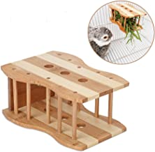 kathson Hay Feeder Manger Bamboo Rabbit Hay Feeder Rack Small Animals Cage Accessories for Guinea Pigs, Chinchillas, Hamsters - Attaches to Any cage Conveniently