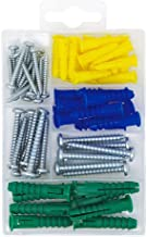T.K.Excellent Plastic Self Drilling Drywall Ribbed Anchors with Phillips Flat Head Self Tapping Screws Assortment Kit,66 P...