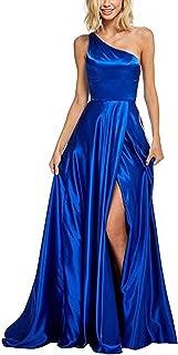 Long Prom Dress One Shoulder Bridesmaid Dresses High Slit Evening Gowns