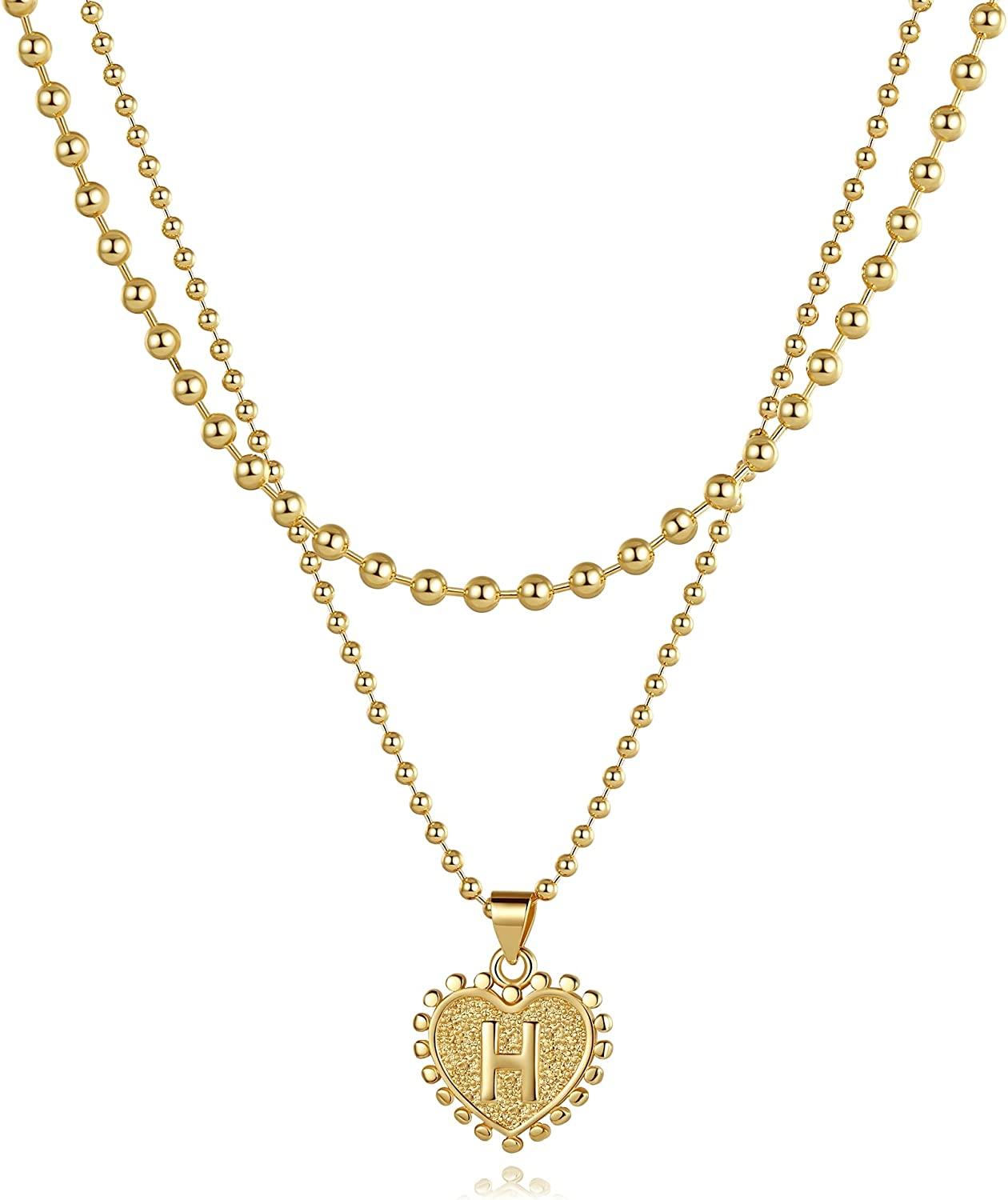 SHOWNII Brand new Max 68% OFF Layered Gold Necklaces for Women Heart 1 Pendant Initial