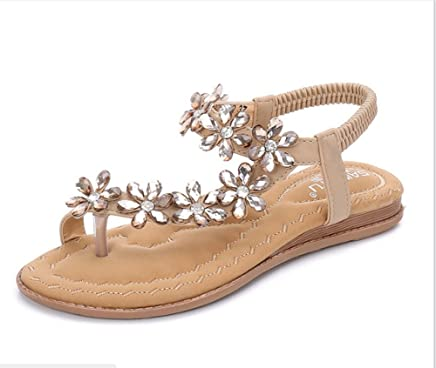 Amazon.com: Luhaixiang Womens Bohemia Flat Sandals,Comfortable Rhinestone Thong Ethnic Style.: Shoes