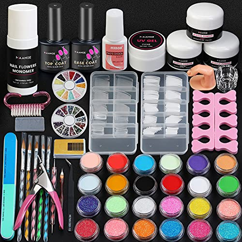 Acrylic Nail Kit, MAANGE Nail Kit with Glitter Acrylic Powder and Liquid Set Professional Acrylic Nail with Everything Acrylic Nail Art Decoration Tools Professional Manicure Kit