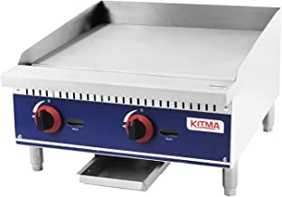 Commercial Countertop Manual Griddle - KITMA 24'' Natural Gas Flat Top Griddle - Restaurant Equipment for Barbecue, 60,000 BTU