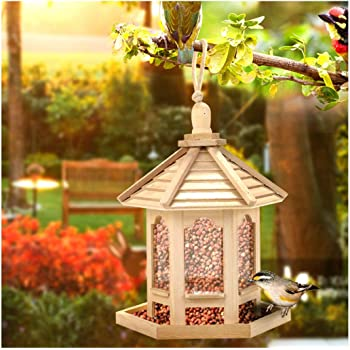 Hanging Wooden Wild Bird Feeder Hexagon Roof Garden Tree Decor Decoration