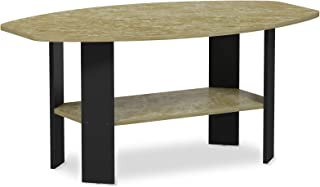 FURINNO Simple Design Coffee Table, Brown Faux Marble/Black