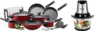 Prestige Classique 14Pc Cooking Set + Prestige Food Chopper, Red, Pr81684