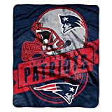 Officially Licensed NFL New England Patriots 'Grand Stand' Plush Raschel Throw Blanket, 50' x 60', Multi Color