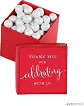 Andaz Press Mini Square Party Favor Box DIY Kit, Thank You for Celebrating with Us, Red, 20-Pack, for Birthday, Wedding Party Favors, Decorations